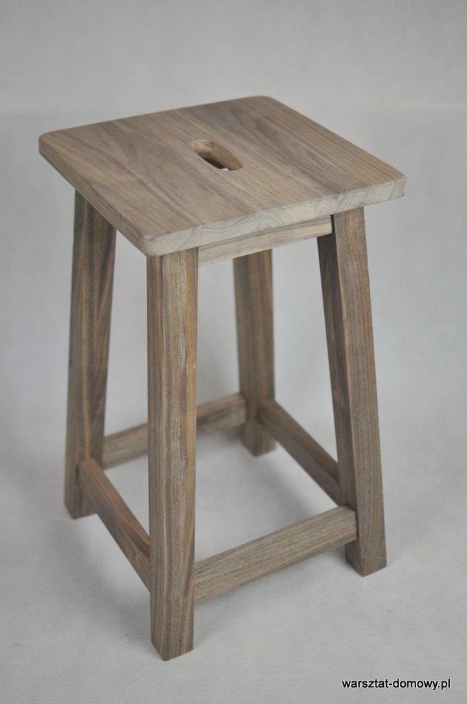 Stołek barowy z drewna orzechowego