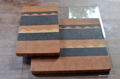 DSC 0022 400x265 Deska do krojenia z trójkątnymi wzorami   czereśnia i orzech
