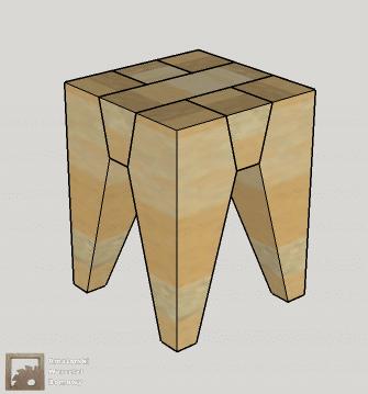 stolek widok ogolny Dębowy stołek według projektu pani Joanny